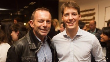 NSW Young Liberal president Alex Dore with Tony Abbott.