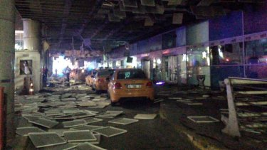 An entrance of the Ataturk Airport in Istanbul after the deadly explosions.