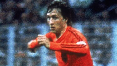 Johan Cruyff in full flight for the Netherlands during the 1974 World Cup.