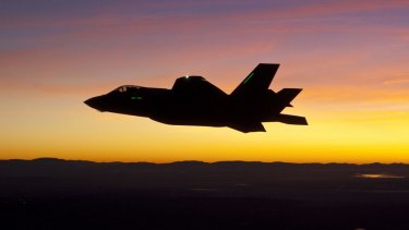 An F-35 fighter jet - the most expensive weapon in history, with a development plagued by controversy.