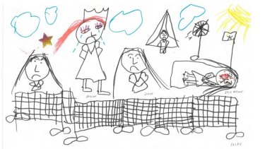 """By a seven-year-old girl who was in the centre on Nauru. """"That is Nauru. All the people sad... That is me dead. I died""""."""
