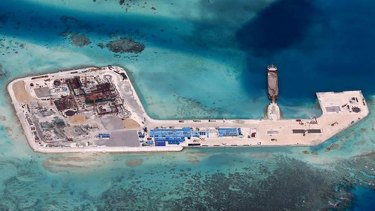 Chinese development at Hughes Reef in the disputed Spratly Islands chain in the South China Sea.