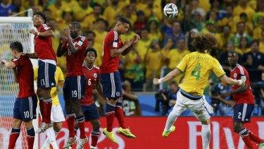 Stunner: David Luiz scored Brazil's second goal with an incredible free-kick.