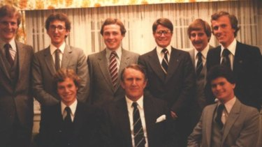 Abetz (top right) in 1978, with fellow Young Liberals and then PM Malcolm Fraser (front row, centre).