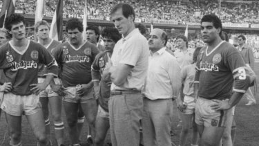 Wayne Bennet (centre) and Mal Meninga (right) after the Canberra Raiders lost the 1987 grand final to Manly.