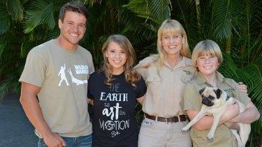 Bindi Irwin with boyfriend Chandler Powell, mum Terri and brother Robert Irwin.