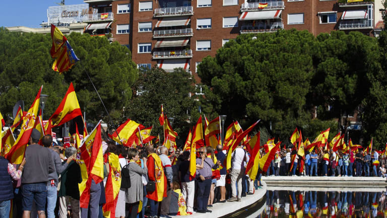 Demonstrators call for unity in Madrid.