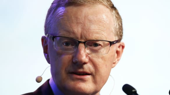 "The rising cost of money for Australia's bank may prompt Philip Lowe, governor of the Reserve Bank of Australia (RBA), speaks at the Australian Financial Review Business Summit in Sydney, Australia, on Wednesday, March 7, 2018. Lowe?slammed President?Donald Trump's tariffs proposal, warning escalation and retaliation could develop into a ""very big shock for the global economy."" Photographer: Brendon Thorne/Bloomberg"