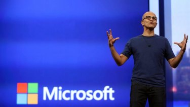 REBOOT: Microsoft CEO Satya Nadella delivers the keynote address at Build earlier this year.