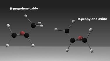 Model of the structure of versions of the chiral molecule propylene oxide. S (Latin for sinistral, left) and R (Latin for rectus, right) versions of the chiral molecule propylene oxide, which was discovered in a massive star-forming region near the centre of our Galaxy. This is the first detection of a chiral molecule in interstellar space.