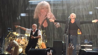 The pouring rain didn't dampen fans' enthusiasm for Fleetwood Mac at Domain Stadium on Friday night.