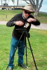 Colin uses a tripod to steady his 'SpudCam.'