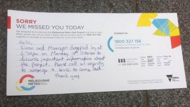 The note to South Yarra homeowners from Metro Rail about the rail project.