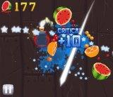 Simplicity: In <i>Fruit Ninja</i>, players swipe the screen to slice fruit.