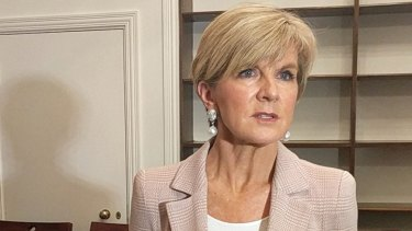 Foreign Minister Julie Bishop at 9 Downing Street in London.