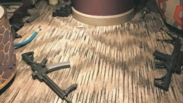 Photos purport to show the inside of the Las Vegas gunman's hotel room.