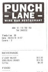 Receipt for lunch with Sonny Tilders at Punch Lane