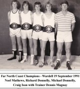 Craig Ison, second from right, as a boxing champion in 1991.