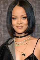 RiRi sported a muted palette of caramel browns for her official design debut at New York Fashion Week.