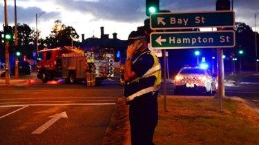 Police at the scene of the terror siege in Brighton on June 5.