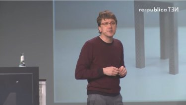 Jeff Kowalski speaks at the re:publica conference earlier this year.