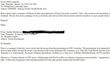 Screen grab of email report sent by Andrea Mortensen.