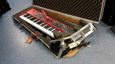 A $5000 keyboard was also wrecked after English and his band checked in their instruments for the Virgin flight to Sydney.