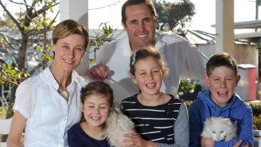 Kim and Geoffrey Hunt with children Phoebe, Mia and Fletcher