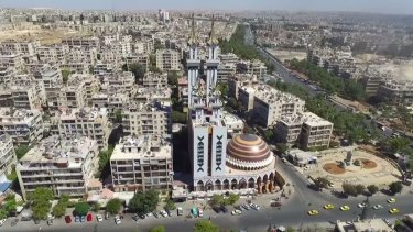 Riverside parks, intact mosques and residential buildings are used by the Syrian Ministry of Tourism to show an Aleppo shielded from war.