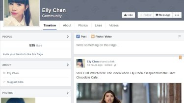 A Facebook page using the name of siege survivor Elly Chen which an expert says is likely 'click fraud'.