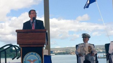 US Defence Secretary Ashton Carter delivers his speech during the change-of-command ceremony for the US Pacific Fleet at Pearl Harbour, Hawaii.