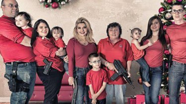 Guns and family: Nevada state representative Michele Fiore (third adult from left).