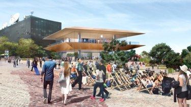 An artist's impression of the new Apple flagship store to be built at Federation Square.