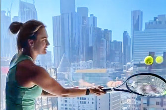 Belarusian tennis player Aryna Sabalenka practises in hotel quarantine at the Grand Hyatt.