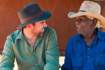 Northern Territory member for Gwoja Chansey Paech with Kalkaringi elder Jimmy Wavehill.