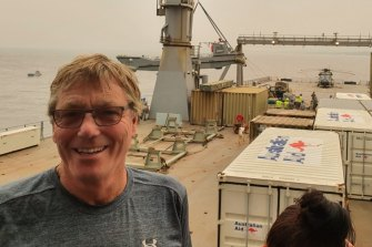 Dr Andrew Taylor aboard the HMAS Choules.