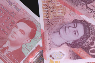 The new 50-pound notes featuring scientist Alan Turing.