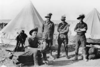 Ernest William Weeks (third from left) with Gordon Rose, Joseph Dandy Street and Bernard William Noah of the 5th Australian Light Horse Regiment.