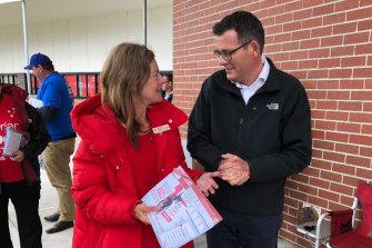 Premier Daniel Andrews with Sonya Kilkenny on election day last year.