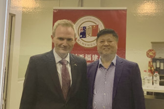 Federal Liberal MP David Coleman and Chinese labour recruiter David Zhu.