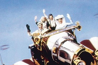 The cast of Chitty Chitty Bang Bang, with the car in a starring role.
