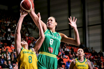 Liz Cambage in action for Australia during their Olympic qualifier against Brazil.
