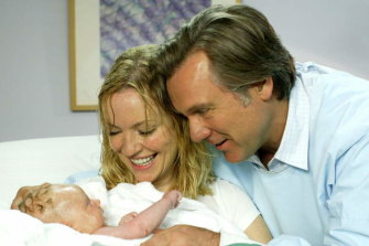 "Julie (Rebecca Gibney) and Dave (Thomson) welcome their daughter, Ruby, to the world in ""Packed to the Rafters""."