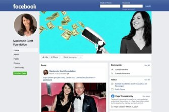 """A recent Facebook page that falsely associates itself with Ms Scott. The """"Mackenzie Scott Foundation"""" does not exist."""