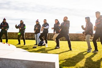 Moving: The Roosters' New Zealand players perform an emotional haka in France.
