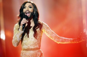Conchita performs 'Rise Like A Phoenix' during a dress rehearsal for the 2014 Eurovision Song Contest grand final.