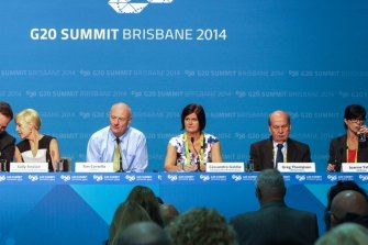 Members of the Civil Society, including Tim Costello, at the G20 Leaders Summit in Brisbane.