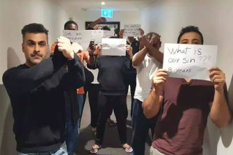 Refugees remain at the Park Hotel in Carlton after dozens of their friends were released on bridging visas.