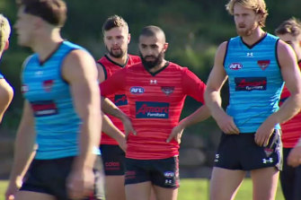 Cause for concern: Essendon's Conor McKenna (rear centre) during a Bombers training session in Melbourne, on Friday, June 19.