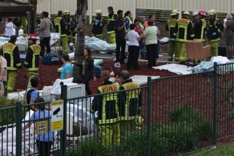 The scene at Quakers Hill Nursing Home on the morning of the fire which resulted in 11 deaths.